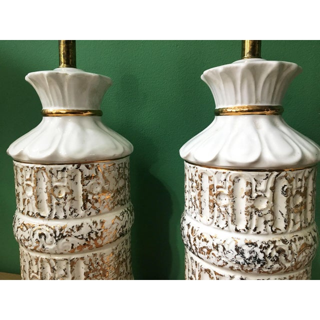 1970s Vintage 1950s White and Gold Table Lamps - a Pair For Sale - Image 5 of 10