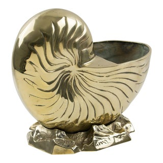Brass Nautilus Sea Shell Wine Cooler Bottle Holder Vase Planter Cachepot For Sale