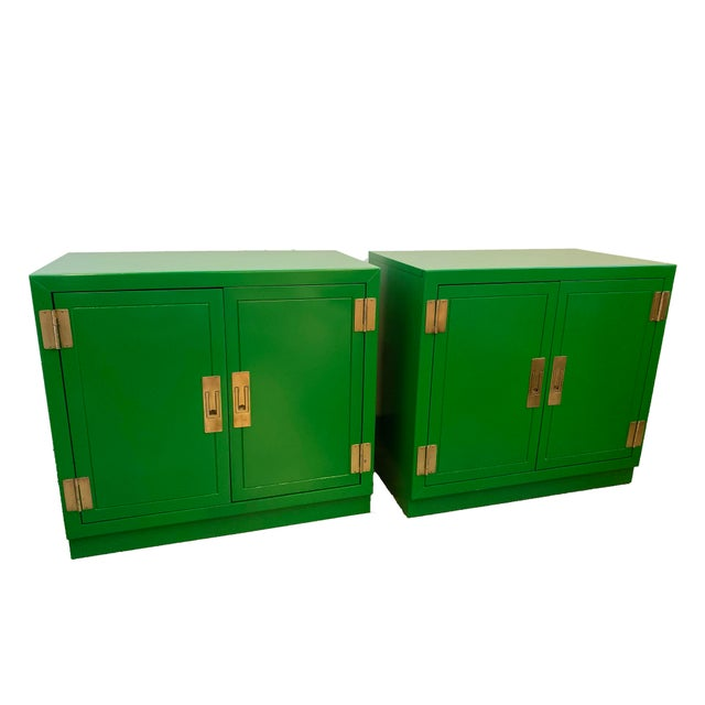 Mid Century Kelly Green Campaign Chests-a Pair For Sale - Image 9 of 9
