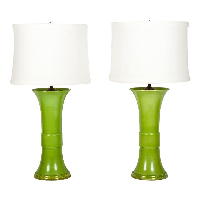 Pair of Green Porcelain Task Lamps For Sale