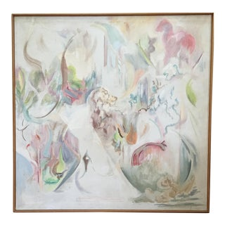 Vintage Mid Century Abstract Oil Painting Signed Framed Large For Sale
