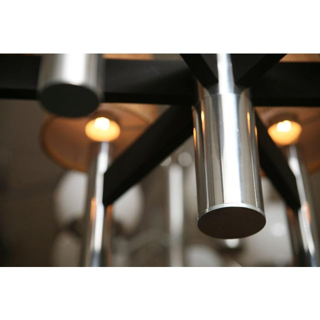 Modern Feldman Lamp Co. Chrome Tubular Chandelier With Cork Shades. - Image 7 of 11