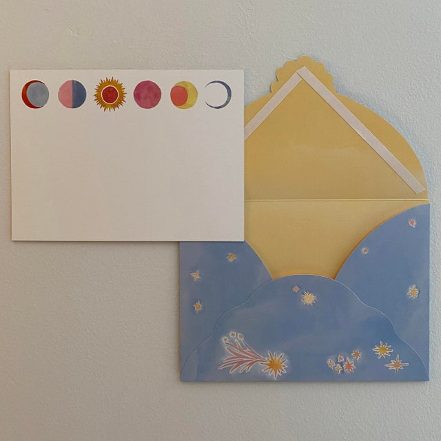 "Happy Menocal ""Celestial"" Stationery - Set of 20 Cards and Custom Lunar Envelopes For Sale - Image 4 of 7"