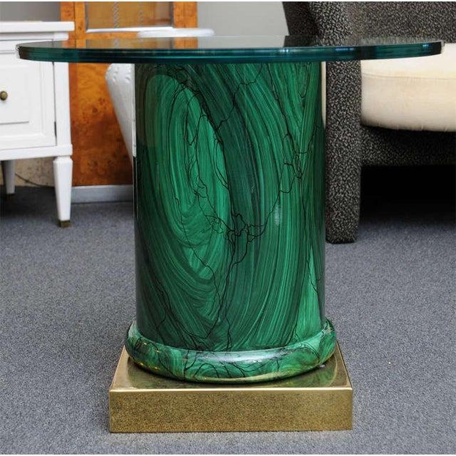 Sleek Modern Classic Malachite Column Side Table - Image 2 of 8