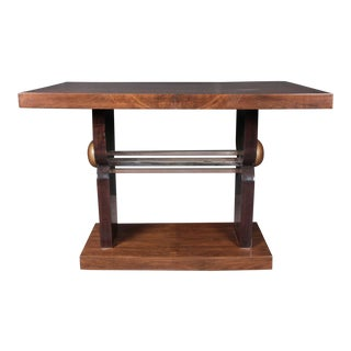 French Art Deco Two-Tone Walnut Table With Nickeled Mounts For Sale