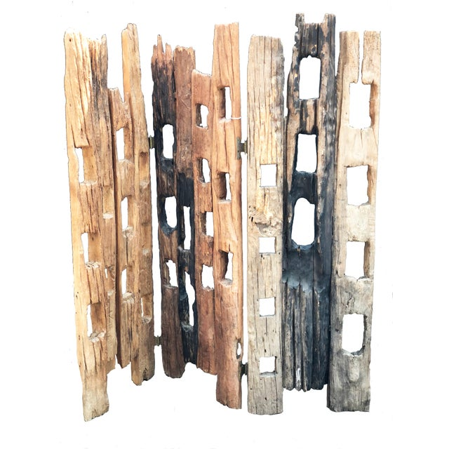 Late 20th Century 20th Century Distressed Wood Screen For Sale - Image 5 of 5