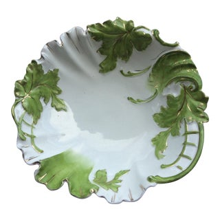 1900's Green Leaf Accent Gilded China Salad Bowl