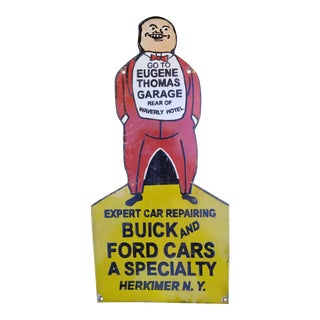 Vintage Enamel Car Repair Shop Sign For Sale