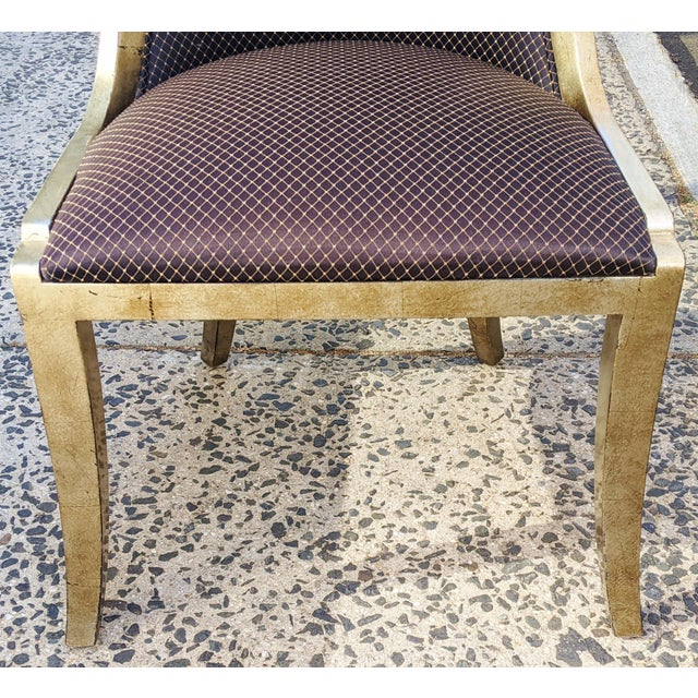 """Wood Vintage 20th Century French """"Donghia"""" Style Gilt Chairs - Set of 4 For Sale - Image 7 of 10"""