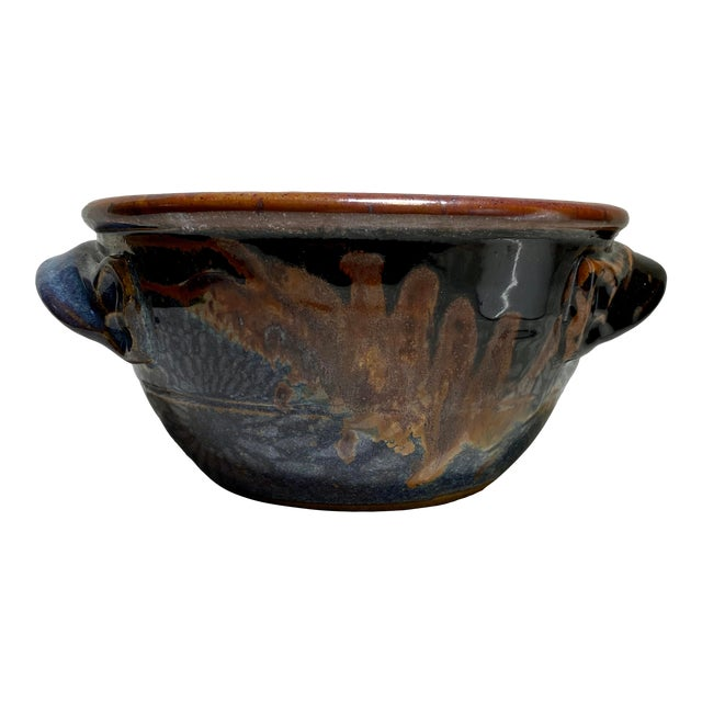 1990s Vintage American Studio Pottery Glazed Bread Baking Bowl For Sale