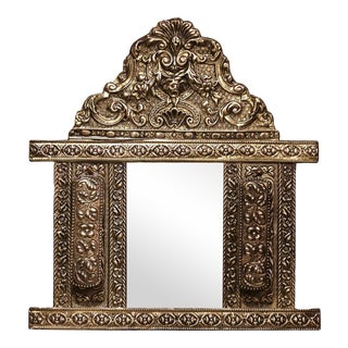 19th Century French Napoleon III Repousse Brass Wall Mirror With Brushes For Sale