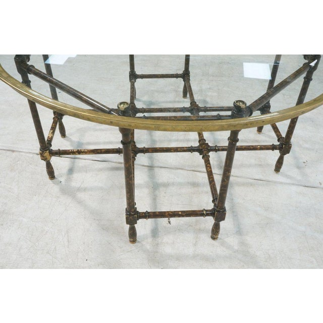 Baker Brass & Glass Tray Top Faux Wood Bamboo Coffee Table, Circa 1960 - Image 6 of 9
