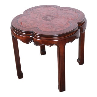 Drexel Heritage Carved Mahogany Hollywood Regency Chinoiserie Clover-Shaped Occasional Table For Sale