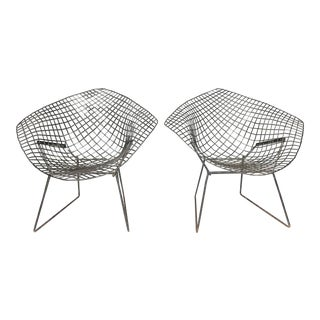 Vintage Black Harry Bertoia Diamond Chairs - a Pair For Sale