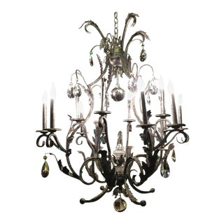 Schonbek Rustic Silver Metal Chandelier For Sale