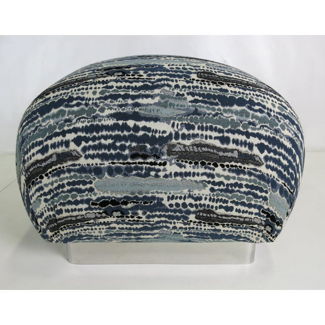 Pair of Souffle Poufs with Chrome Base For Sale - Image 4 of 5
