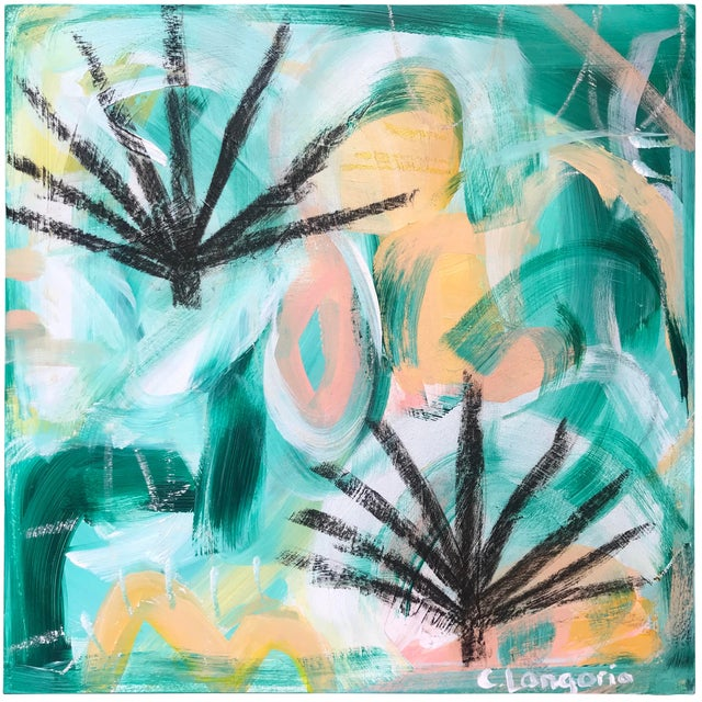 Palm Fronds #1 Contemporary Painting For Sale