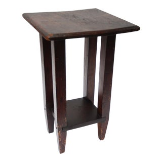 Primitive Stained English Oak Plant Stand / End Table For Sale