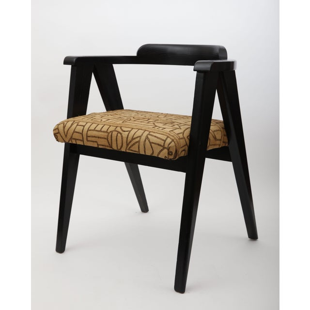 """Vintage Allan Gould for Herman Miller compass armchair refinished in ebony with kuba cloth upholstery. Seat height: 18.5""""..."""