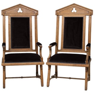 1920s Vintage Moorish Style Large Armchairs- A Pair For Sale