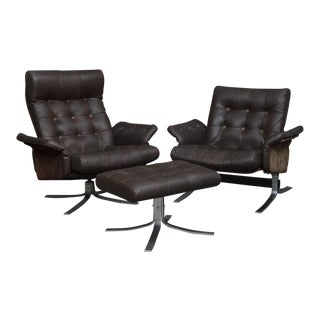 1960s Vintage Mid-Century Modern Danish Lounge Chairs - 3 Pieces For Sale