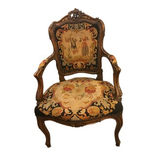 Vintage French Wooden Fauteuil Chair For Sale