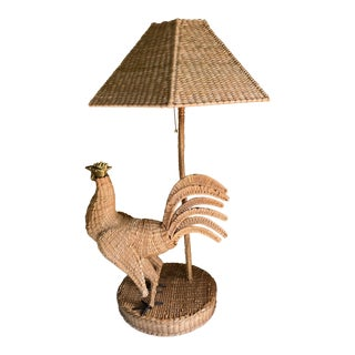 Mario Lopez Torres Rooster Table Lamp and Shade For Sale