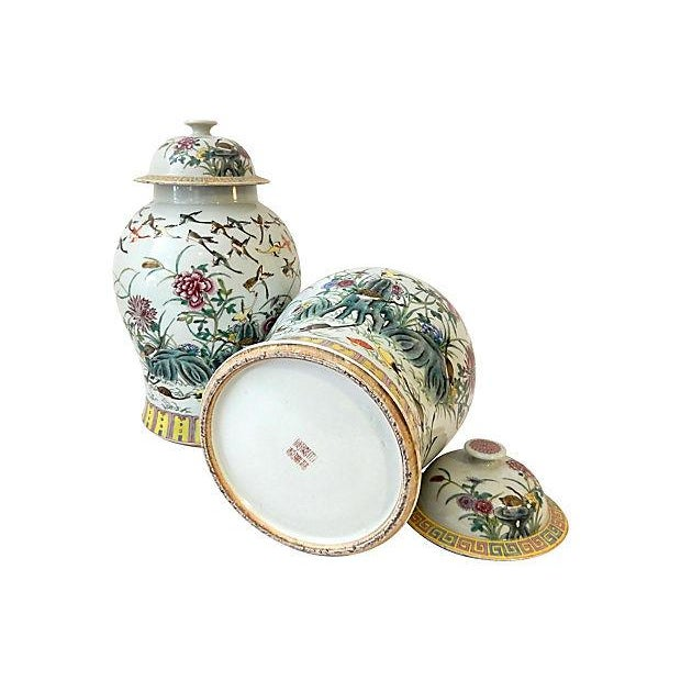 Ceramic Famille Rose Ginger W/ Ducks Jars, S/2 For Sale - Image 7 of 7
