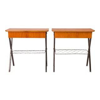 Vintage Danish Mid-Century Teak and Wire Nightstands (Pair) For Sale