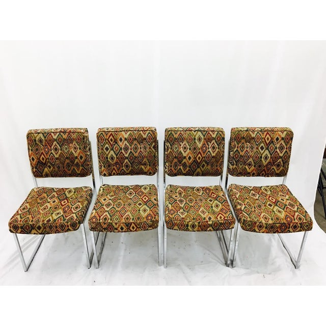 Mid-Century Modern Vintage Mid-Century Modern Chrome Frame Chairs - Set of 4 For Sale - Image 3 of 11