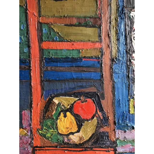 Love this quirky heavy impasto painting. Made in the mid 20th century.