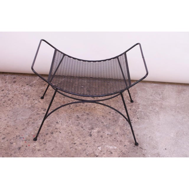 Mid-Century Modern Iron Footstool / Ottoman For Sale - Image 10 of 12
