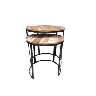 Jackson Wood and Iron Round Nesting Tables - Set of 2 For Sale