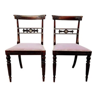 Set of Two French Vintage Imperial Neoclassical Carved Oak Accent Chairs For Sale