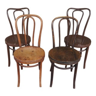 1940s Antique Thonet Model 18 Cafe Chairs - Set of 4 For Sale