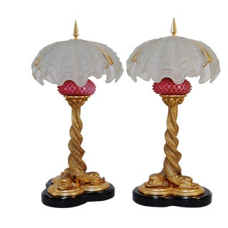 Art Nouveau 22kt Dore Gold Gilt Solid Bronze Dolphin Table Lamps With Clam Shell Shades - a Pair For Sale