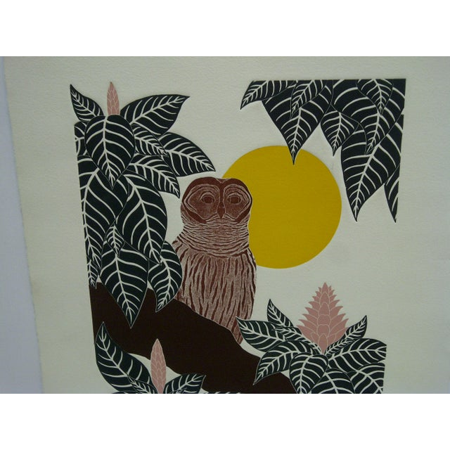 "Illustration G. Clark Sealy 1977 ""Chouette"" Print For Sale - Image 3 of 8"