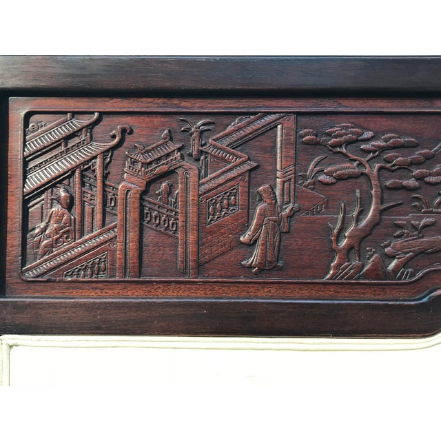 Antique Carved Asian Twin Headboard For Sale - Image 4 of 5