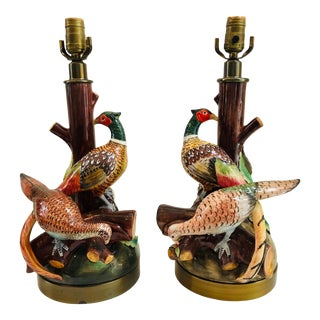 French Vintage Majolica Massier Vallauris Style Pheasant Table Lamps - a Pair For Sale