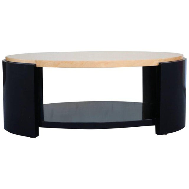 Maple and Black Lacquer Coffee Table in the Style of Karl Springer - Image 6 of 7