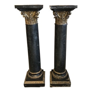 1940s Art Nouveau Rococo Black and Gold Ormolu Pillars - a Pair For Sale