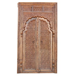 Carved Rajasthani Arched Door For Sale