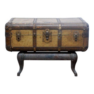 Early 20th Century Indestructo Trunk on Industrial Stand For Sale