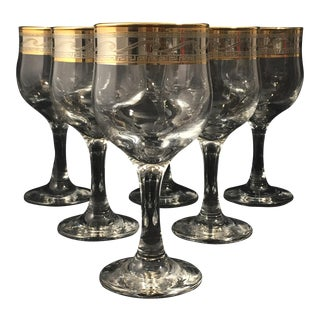 Cristalleria Fumo Hand Decorated Italian Glassware - Set of 6 For Sale
