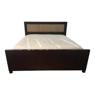 Walnut & Leather King Bed & Nightstands For Sale