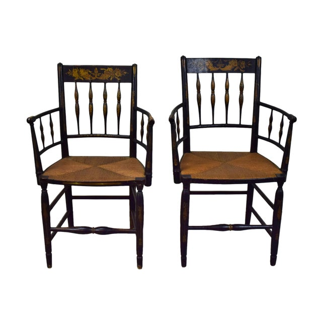 19th Century American Classical Sheraton Fancy Painted Armchairs For Sale