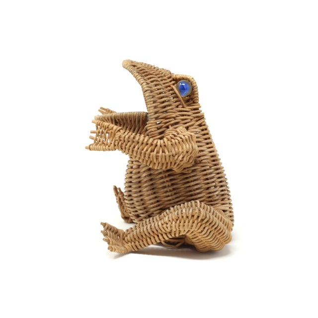 Boho Chic Vintage Wicker Frog Basket With Glass Marble Eyes For Sale - Image 3 of 11