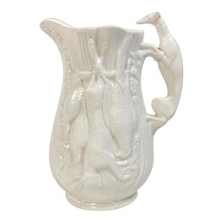 Majolica Style Ivory Fox Hunt Pitcher For Sale