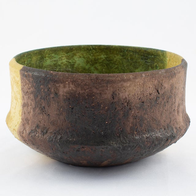 1970s Marcello Fantoni Yellow, Green and Burgundy Ceramic Bowl, Circa 1970s For Sale - Image 5 of 13