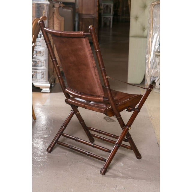 Brown Leather Bamboo-Style Folding Chair - 20 Available For Sale - Image 8 of 9